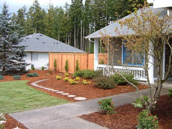Plant beds and shrubs