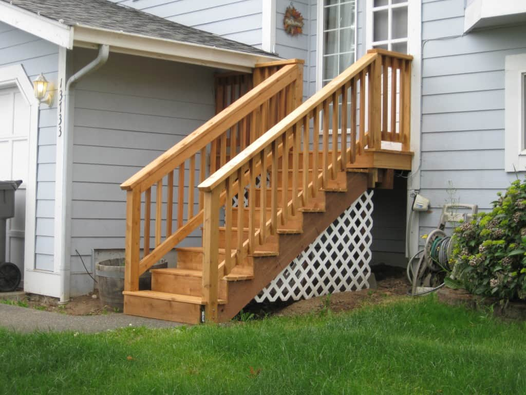 Cedar staircase and deck